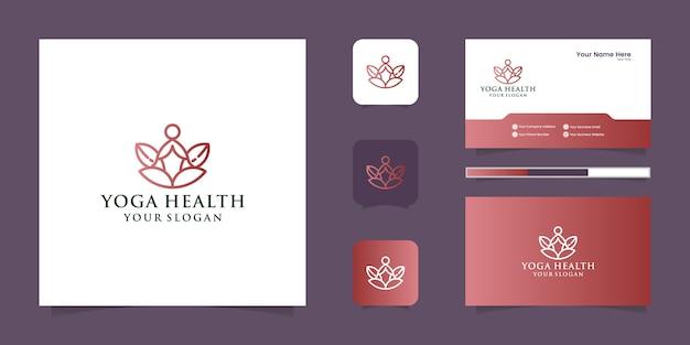 Un logotipo de icono de línea de arte de una persona de yoga con el logotipo de la línea de buda y diseño de tarjeta de presentación