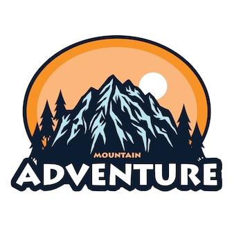 Logotipo para el icono de la plantilla de escalada de camping de aventura en la montaña