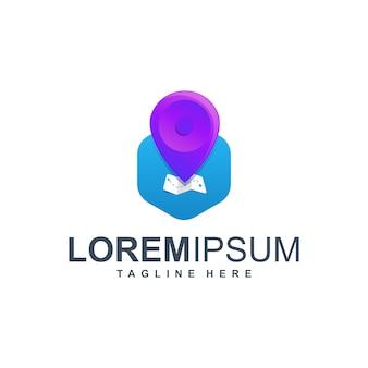 Logotipo de icono de ubicación de mapa