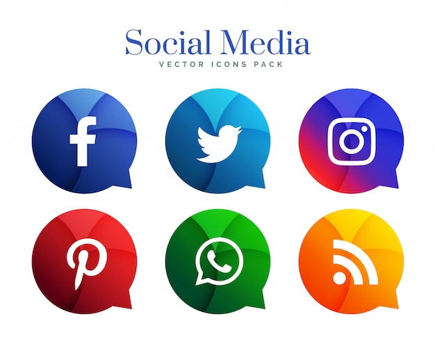 Logotipo de iconos de redes sociales populares en estilo de burbuja de chat