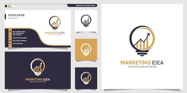 Logotipo de idea de marketing con concepto único moderno y plantilla de diseño de tarjeta de visita