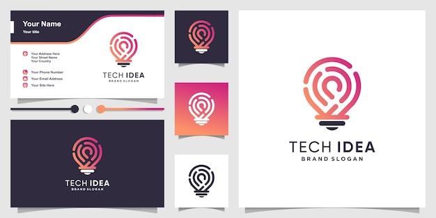 Logotipo de idea tecnológica y tarjeta de visita con estilo moderno de arte de línea degradada