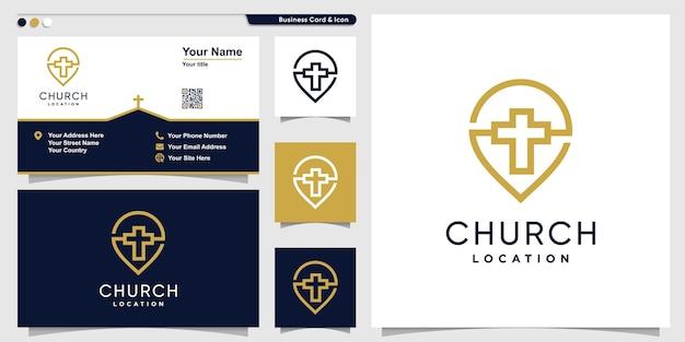 Logotipo de la iglesia con estilo de arte de línea de punto y plantilla de diseño de tarjeta de visita, religión, plantilla