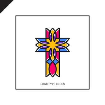 Logotipo de la iglesia. símbolos cristianos jesús cruz.