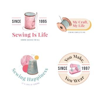 Logotipo con ilustración acuarela de diseño de concepto de costura.