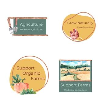 Logotipo con ilustración acuarela de diseño de concepto orgánico de granja.