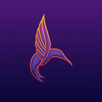 Logotipo de ilustración de arte de línea de colibrí colorido premium