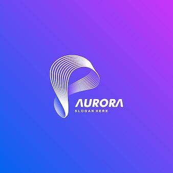 Logotipo ilustración aurora gradiente estilo colorido