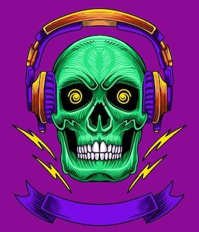 Logotipo de ilustración de calavera con auriculares