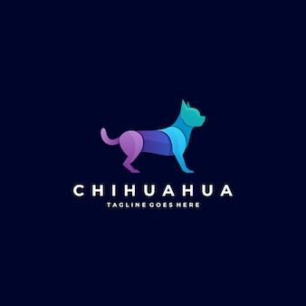 Logotipo ilustración chihuahua pose gradiente colorido