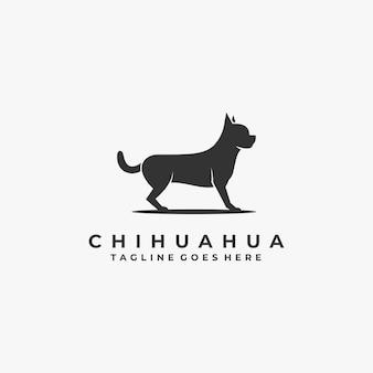 Logotipo ilustración chihuahua pose silueta
