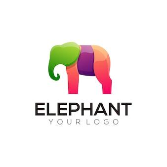 Logotipo de ilustración colorida de elefante abstracto