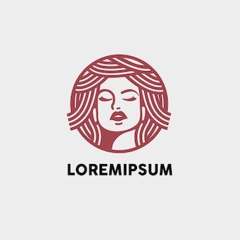Logotipo de ilustración de cuidado de piel de belleza de mujer de cabello