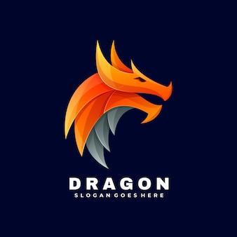 Logotipo ilustración dragon gradient colorful style.