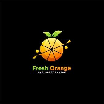 Logotipo ilustración fresca naranja icono