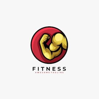 Logotipo de ilustración de insignia de fitness fuerte.
