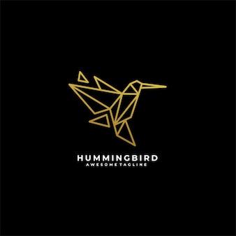 Logotipo de ilustración de línea de colibrí.