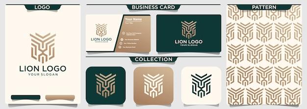 Logotipo de ilustración de línea geométrica de cabeza de león