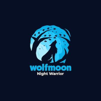 Logotipo ilustración lobo nocturno