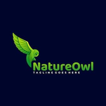Logotipo ilustración naturaleza owl gradient colorful style.