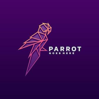 Logotipo ilustración parrot line art style.