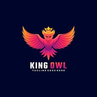 Logotipo ilustración rey owl gradient colorful style.