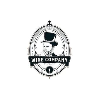 Logotipo de ilustración de vino
