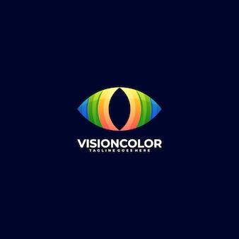 Logotipo ilustración visión gradiente estilo colorido.