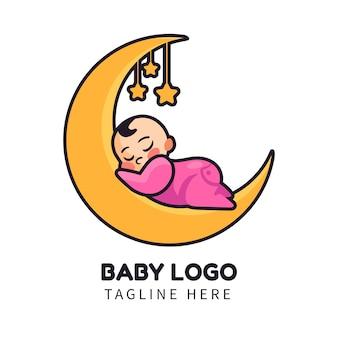 Logotipo ilustrado del bebé detallado
