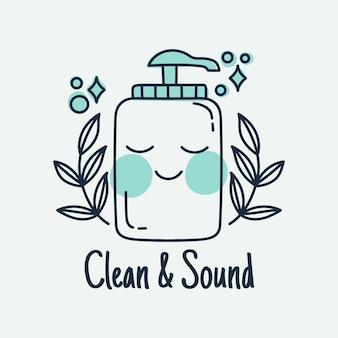 Logotipo ilustrado de botella sonriente de jabón