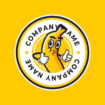 Logotipo ilustrado de personaje de plátano divertido