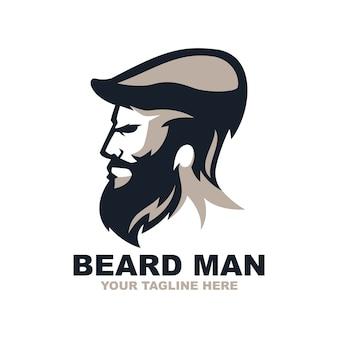 Logotipo impresionante de hombre de barba