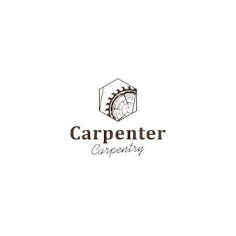 Logotipo de la industria de capenter, sierra circular de troncos de madera