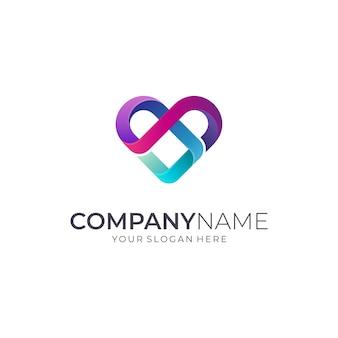 Logotipo de infinity heart / love