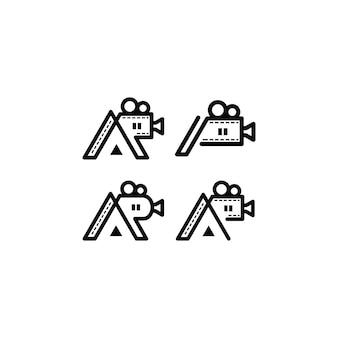 Logotipo inicial de ap combinado con pergamino de cámara
