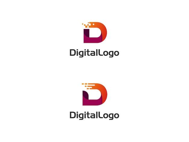Logotipo inicial digital letra d