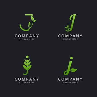 Logotipo inicial de j con elementos de hoja en color verde