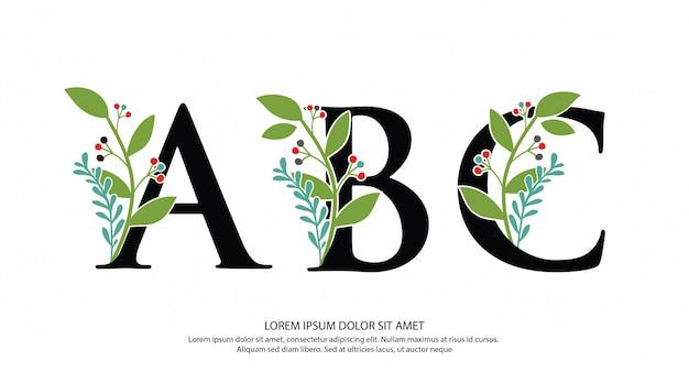 Logotipo inicial de la letra abc con forma de flor