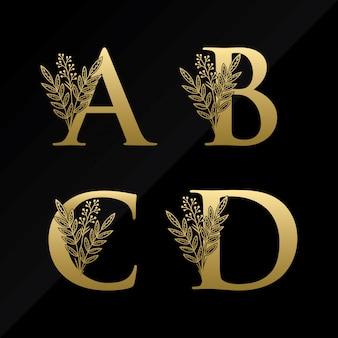Logotipo inicial de la letra abcd con flor simple en color dorado