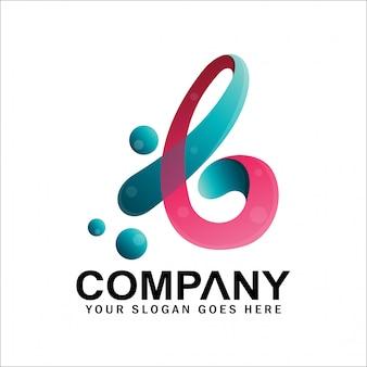Logotipo inicial de la letra b latina con burbujas, logotipo de la letra b