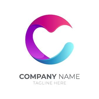 Logotipo inicial de la letra c con corazón / amor