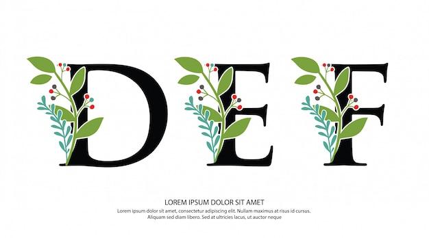 Logotipo inicial de la letra def con forma de flor