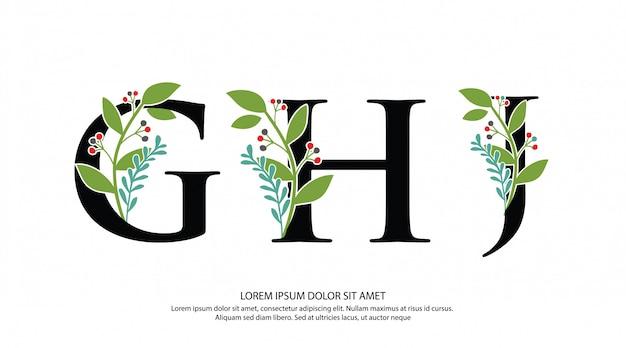 Logotipo inicial de la letra ghj con forma de flor