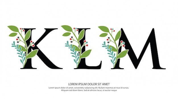 Logotipo inicial de la letra klm con forma de flor
