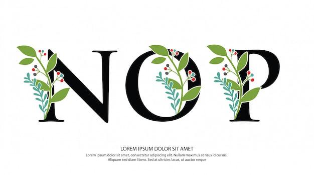 Logotipo inicial de la letra nop con forma de flor