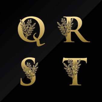 Logotipo inicial de la letra qrst con flor simple en color dorado