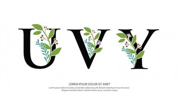 Logotipo inicial de la letra uvy con forma de flor