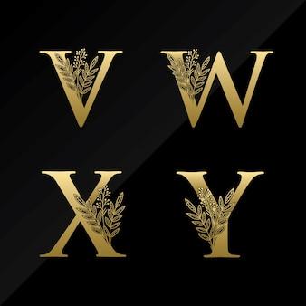 Logotipo inicial de la letra vwxy con una flor simple en color dorado