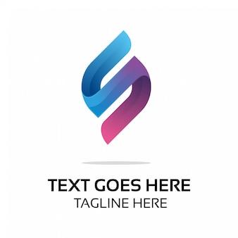 Logotipo inicial moderno a todo color de s