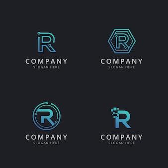 Logotipo inicial r con elementos tecnológicos en color azul